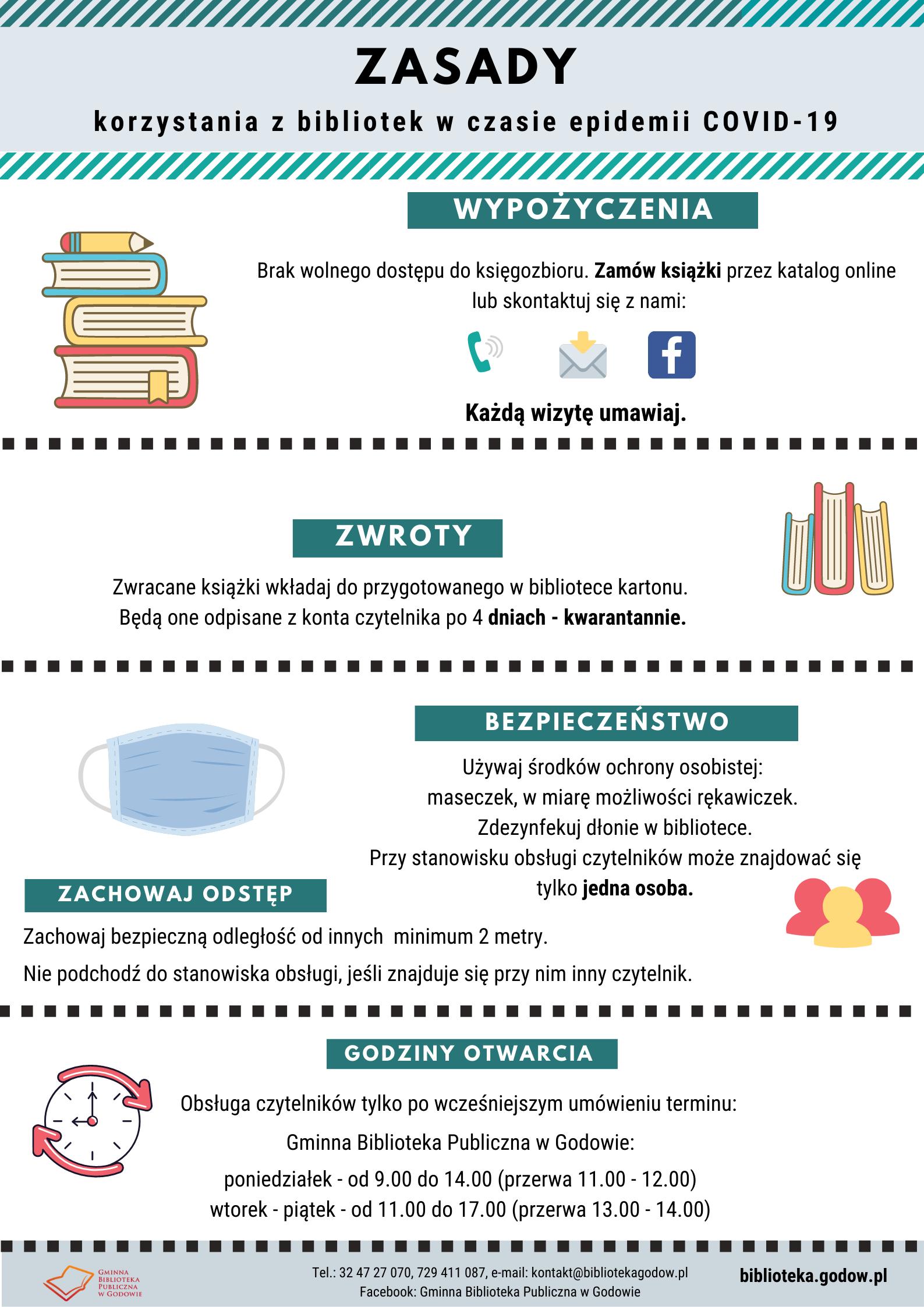 Zasady korzystania z bibliotek w czasie epidemii COVID-19